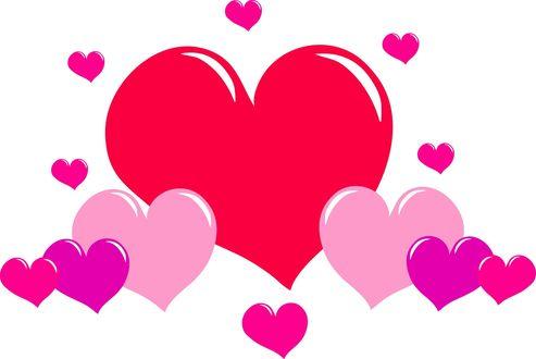 Обои Множество разноцветных сердечек