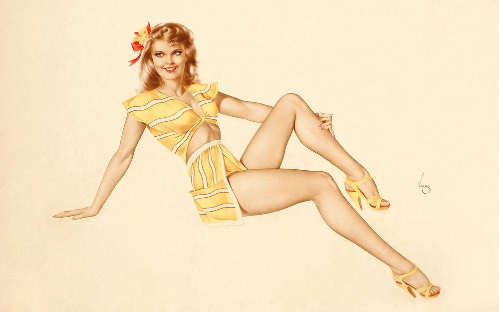 Обои для рабочего стола Улыбающаяся блондинка в пляжном наряде в стиле pin-up, art by Alberto Vargas