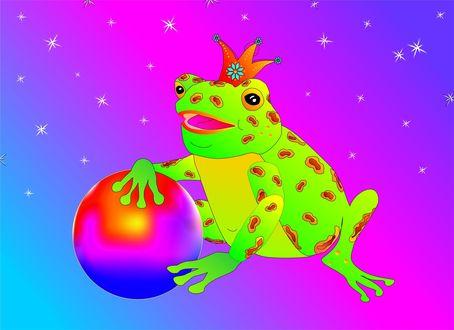 Обои Лягушка с короной на голове держится лапками за шар