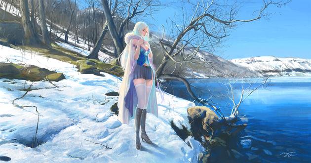 Обои Девушка стоит на заснеженном берегу озера, by Shitub52