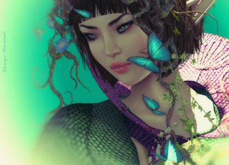 Обои Девушка с голубыми бабочками, by Wakener