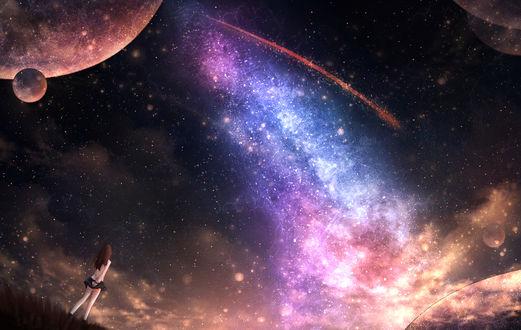 Обои Девушка смотрит на млечный путь и планеты в небе, by CZY