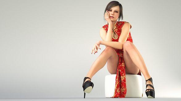Обои Девушка в красном платье, вышитом золотыми узорами, сидит на пуфике, by haneto