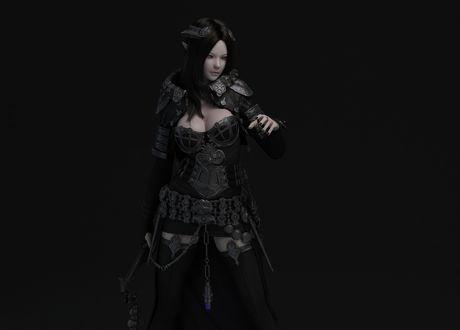 Обои Эльфийка в красивых доспехах на черном фоне