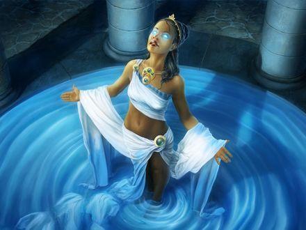 Обои Девушка-оракул в каменном зале стоит по колено в воде и проводит таинственный обряд