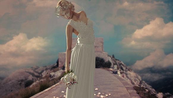 Обои Девушка в белом платье с букетом цветов в руке