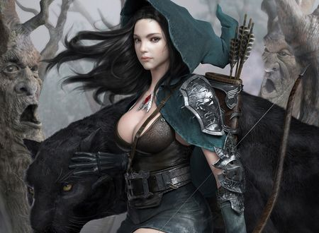 Обои Девушка держит лук в руке, за спиной у нее колчан со стрелами, с боку от нее стоит черная пантера