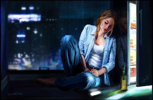 Обои Девушка сидит у окна и рядом с ней стоит бутылка и лежит телефон, by abeermalik