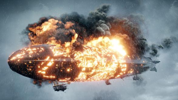Обои Горящий дирижабль на фоне пасмурного неба из игры Battlefield 1, компании Electronic Arts