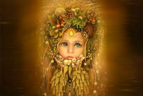 Обои Маленькая девочка-осень, by Martina Arend