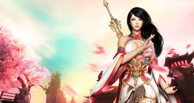 Обои Девушка с длинными темными волосами с мечом за спиной на фоне цветущей сакуры и неба, заставка компьютерной игры Netease, by Mandy