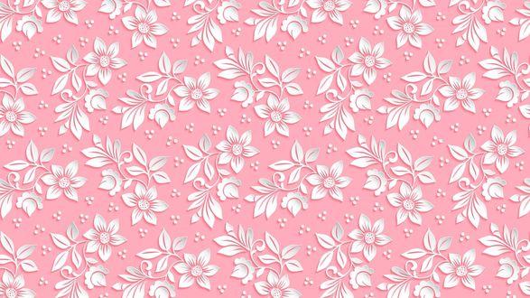 Обои 3D узор цветов на розовом фоне