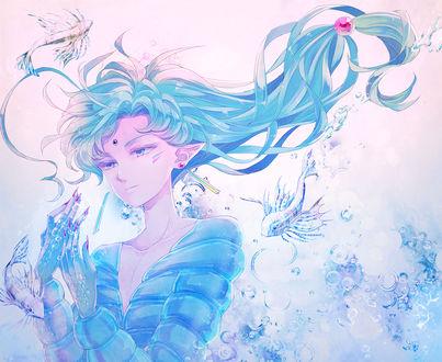Обои Fisheye / Фиший из аниме Bishoujo Senshi Sailor Moon / Красавица-воин Сейлор Мун, art by Saki Kunkatan