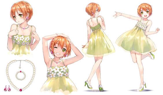 Обои Hoshizora Rin / Хошизора Рин в летнем зеленом платье, из аниме Love Live!/Живая Любовь, art by Sheska Xue