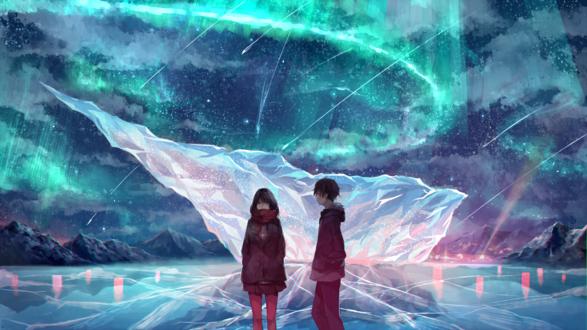 Обои Парень с девушкой в шарфе и куртке стоят на льду на фоне северного сияния, by akira (mr akira)