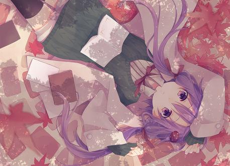 Обои Vocaloid Yuzuki Yukari / Вокалоид Юзуки Юкари из игры Voiceroid лежит среди осенних листьев, art by Li