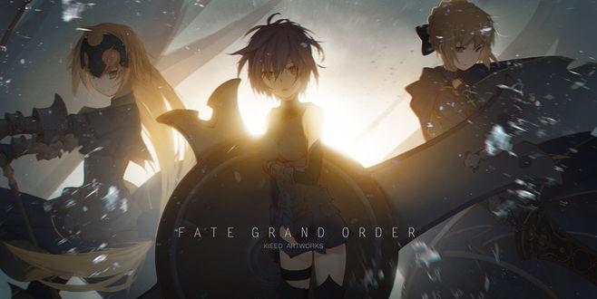 Обои Joan of Arc / Жанна дАрк, Saber / Сэйбер, Shielder / Шиелдер из игры Fate / Grand Order, art by Pixiv Id 11525066