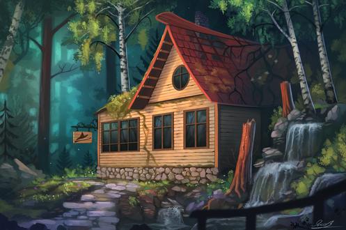 Обои Аккуратный домик с вывеской, на которой изображена символика ведьмы, стоит в лесу, by Yakovlev-vad