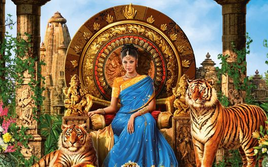 Обои Индийская женщина сидит на троне в окружении тигров