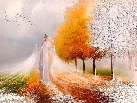 Обои Девушка Зима идет и покрывает снегом деревья и поля, by by ashah