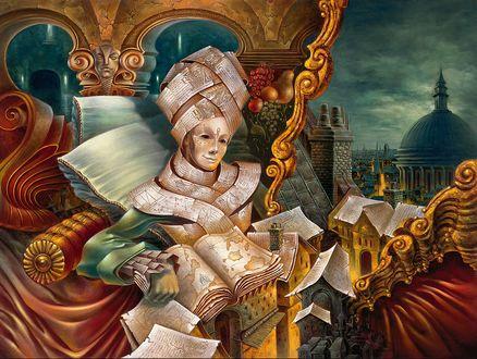 Обои Олицетворение эрудиции - мужчина в маске облачен в рукописные свитки и книги сидит в кресле на фоне города, by Alex Fishgoyt