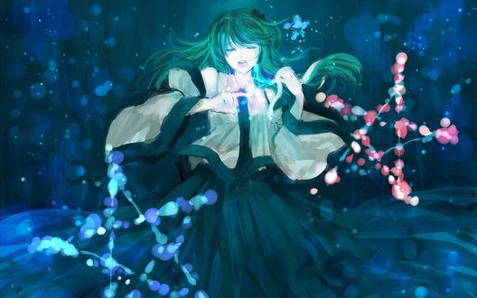 Обои Kochiya Sanae / Кочия Санае занимется магией из компьютерной игры Touhou Project / Проект Восток / Тохо