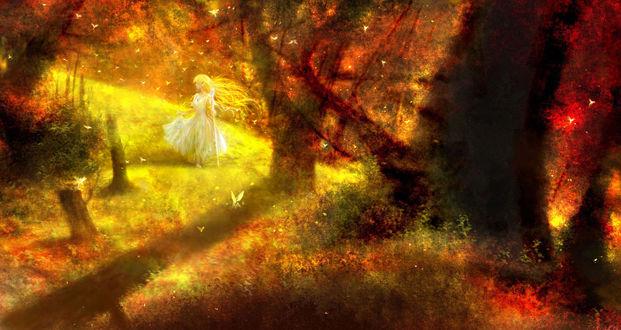 Обои Златовласая эльфийка c посохом в осеннем лесу, by 00