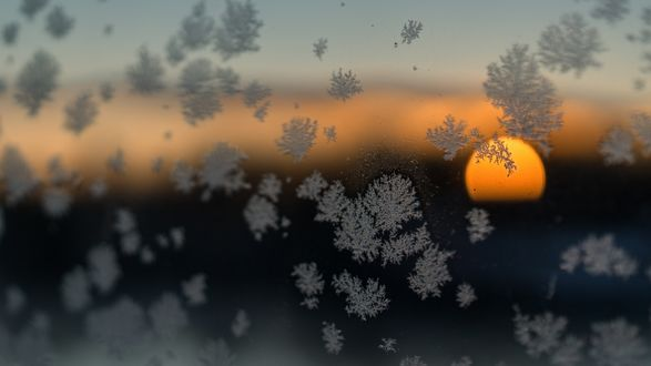 Обои Первые снежинки на стекле, за которым виден закат солнца