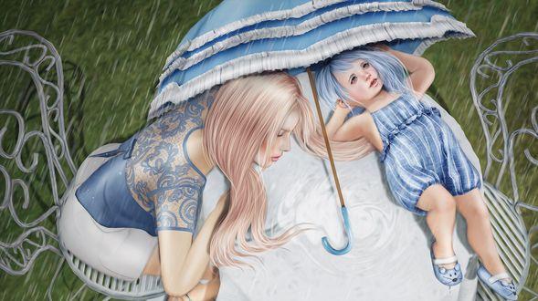 Обои Девочка с мамой спрятались от дождя под раскрытым зонтиком