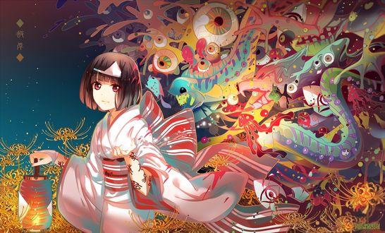 Обои Nora в кимоно с фонарем в окружении екаев из аниме Noragami / Норагами / Бездомный Бог