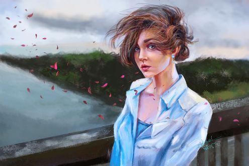Обои Девушка стоит на мосту, на фоне природы с развевающимися от ветра волосами, by abeermalik