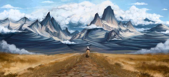 Обои Девушка едет на тигре, который идет по булыжной дороге к виднеющимся вдали горам, by Kytru
