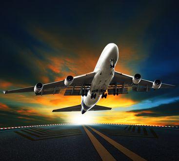 Обои Взлет пассажирского самолета на фоне красивого заката, by stockphoto mania