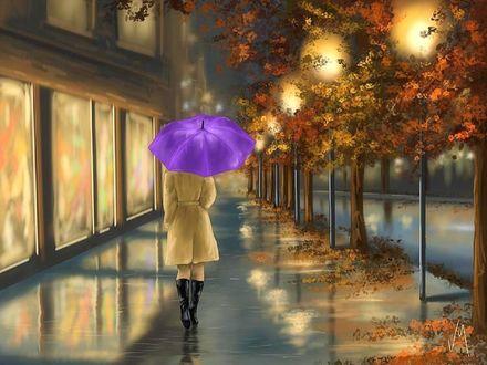 Обои Девушка под синим зонтом идет по городской ночной улице