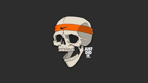 Обои Человеческий череп с повязкой Nike (just did it / просто сделай это)