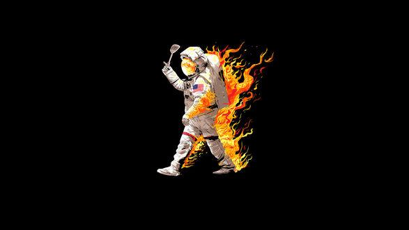 Обои Горящий космонавт на черном фоне