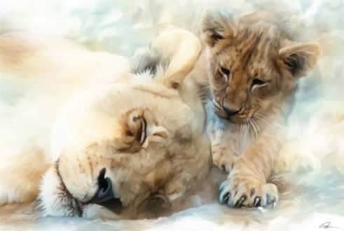 Обои Львенок смотрит на спящую львицу, art Paul Miners