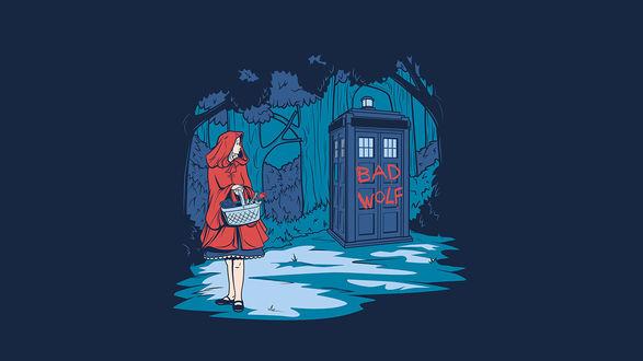 Обои Красная шапочка смотрящая на TARDIS / ТАРДИС с надписью bad wolf / плохой волк