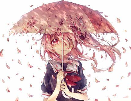 Обои Harusame / Харусаме в матроске под розовым зонтом в лепестках сакуры из игры Kantai Collection / Флотская Коллекция