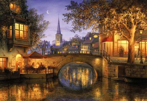 Обои Вид на вечерний город с мостом через канал, художник Евгений Лушпин