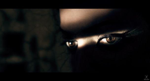 Обои На глаза девушки падает свет, фотограф Paul Pour