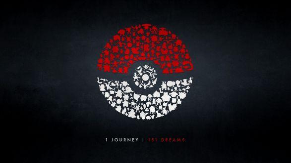Обои Покебол сделанный из покемонов (1 journey | 151 dreams / 1 путешествие | 151 мечта)
