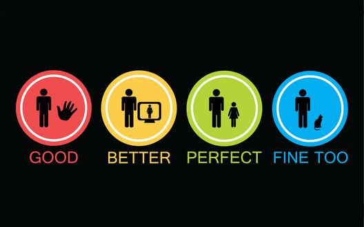 Обои Картинка с изображениями человека и руки в красном круге, человека и монитора в желтом круге, двух людей в зеленом круге, человека и кошки в голубом круге и надписями (Good, Better, Perfect, Fine too / Хорошо, лучше, отлично, тоже хорошо)