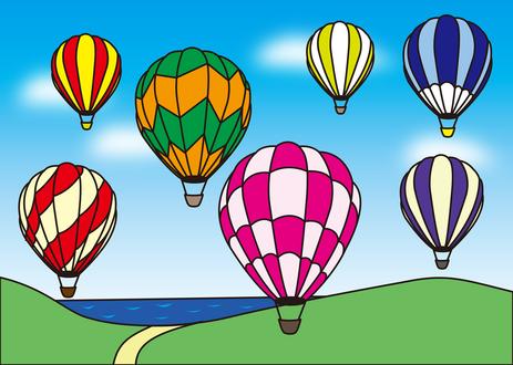 Обои Разноцветные воздушные шары летят в небе