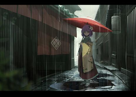 Обои Персонаж hieda no akyuu стоит с зонтом под дождем, автор fami (yellow skies)