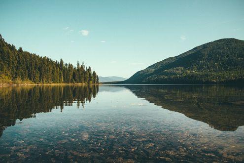 Обои Озеро у леса и сопок
