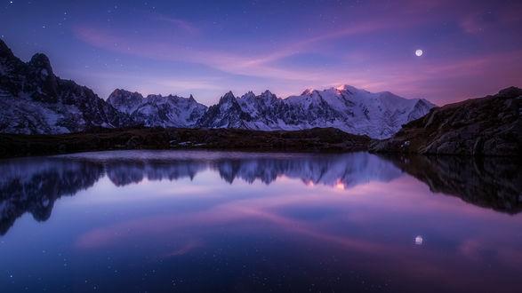 Обои Горное озеро ночью