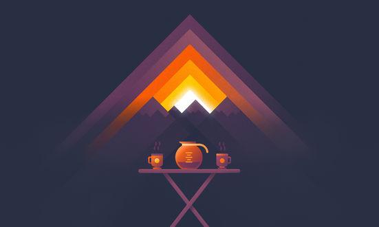 Обои Чайник и 2 кружки стоят на столике на фоне гор
