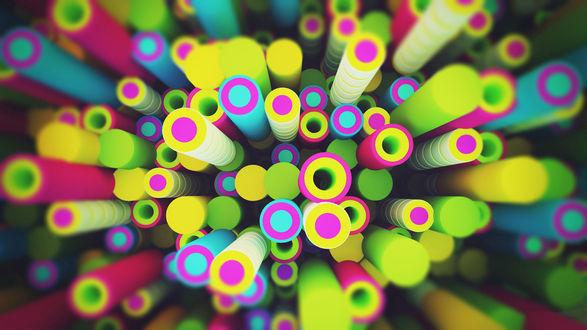 Обои Множество разноцветных труб