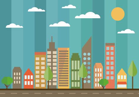 Обои Нарисованный город в геометрических формах